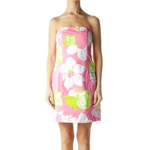 Lilly Pulitzer strapless floral bandeau back dress
